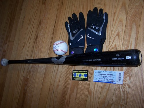 Ryan Braun bat, gloves, hr ball and stub 001.jpg