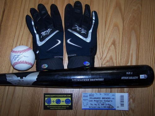 Ryan Braun bat, gloves, hr ball and stub 002.jpg